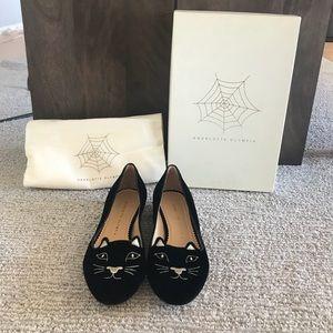 Charlotte Olympia Black Velvet Kitty Flats